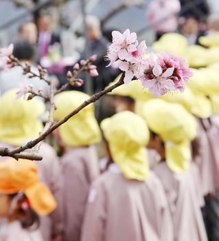 園児と桃の花.JPG